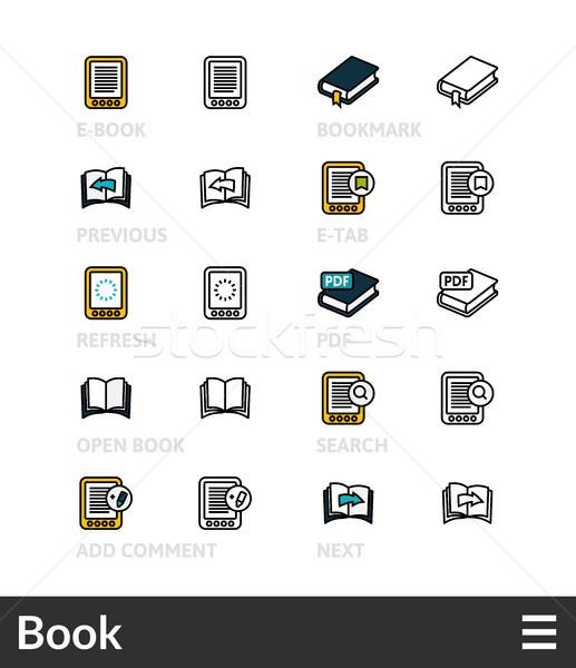 Negro color iconos delgado línea Foto stock © sidmay