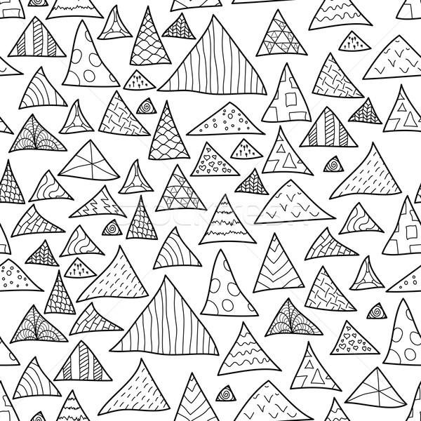 Foto d'archivio: Senza · soluzione · di · continuità · bianco · nero · pattern · triangolo · natura