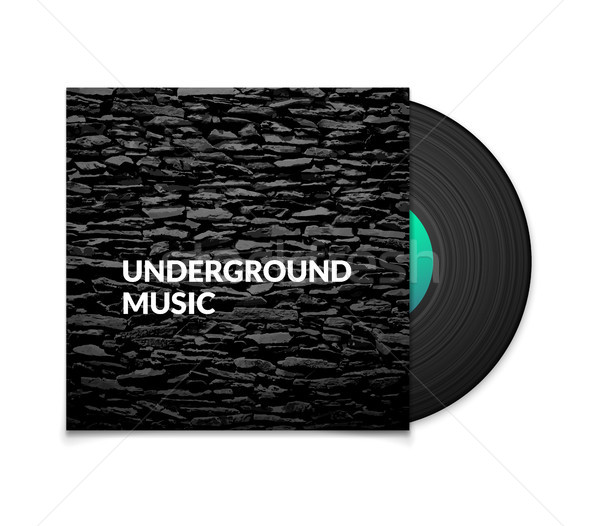 Black vintage vinyl record and black underground music cover case with grunge stone texture isolated Stock photo © sidmay