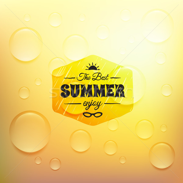 Retro summer label in doodle sketch style isolated on glass background with rain drop, vintage calli Stock photo © sidmay