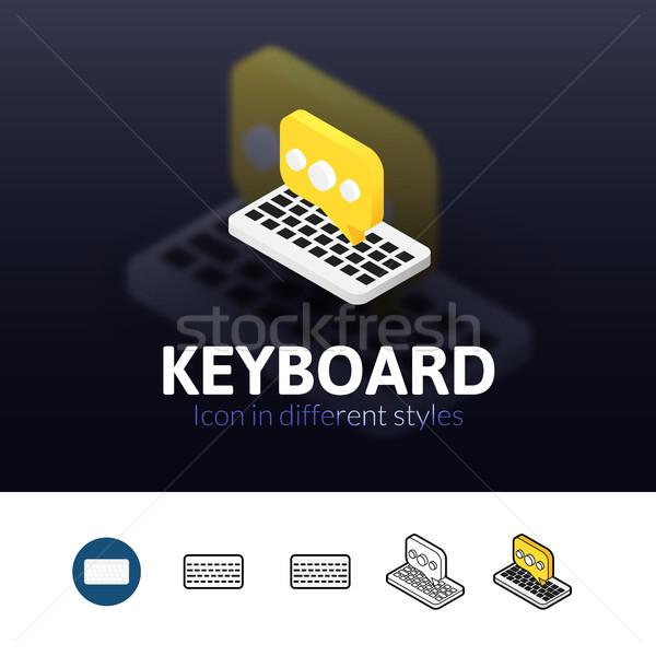 клавиатура икона различный стиль цвета вектора Сток-фото © sidmay