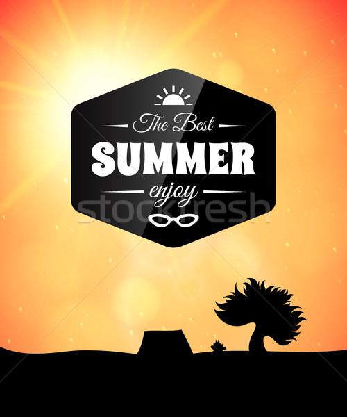 Cartaz verão vida saudável estilo abstrato crianças Foto stock © sidmay