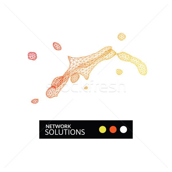 幾何学的な スプラッシュ ネットワーク 建設 アイコン 赤 ストックフォト © sidmay