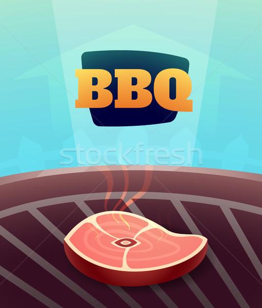 Barbecue BBQ buli meghívó kártya illusztráció poszter Stock fotó © sidmay