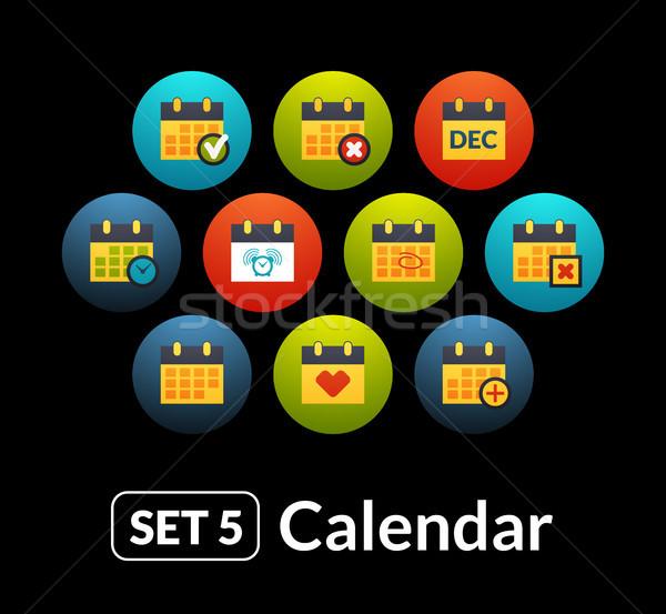 ícones vetor conjunto calendário coleção telefone Foto stock © sidmay