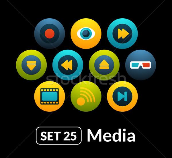 Simgeler vektör ayarlamak 25 medya toplama Stok fotoğraf © sidmay