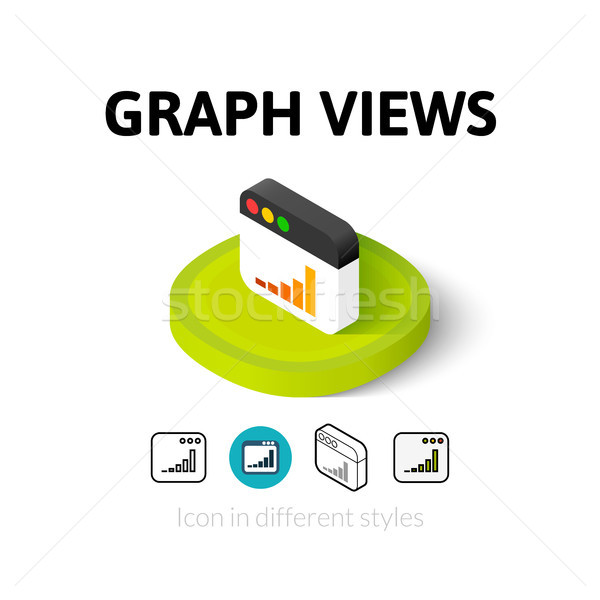 Graph views icon in different style Stock photo © sidmay