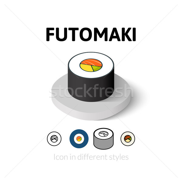 Futomaki icon in different style Stock photo © sidmay