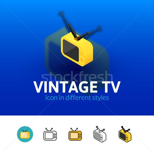 Klasszikus tv ikon különböző stílus szín Stock fotó © sidmay