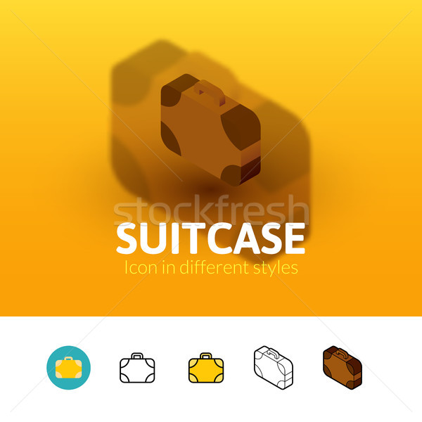 Suitcase icon in different style Stock photo © sidmay