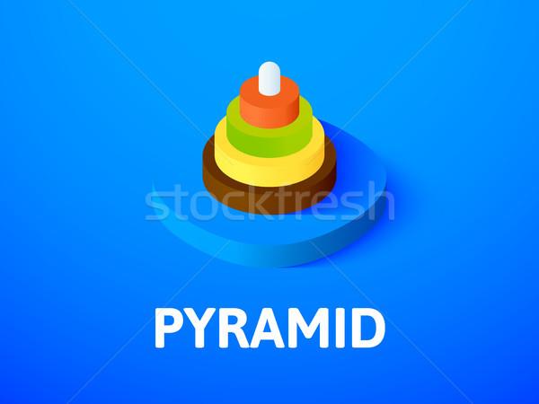 Stockfoto: Piramide · isometrische · icon · geïsoleerd · kleur · vector