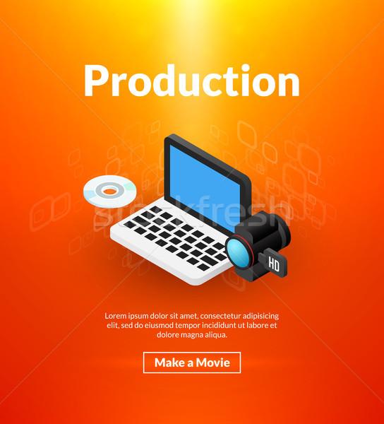 Produkcji plakat izometryczny kolor projektu kina Zdjęcia stock © sidmay