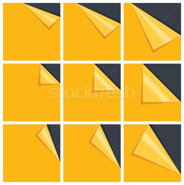 Citromsárga szett levélpapír göndör sarok üzlet Stock fotó © sidmay