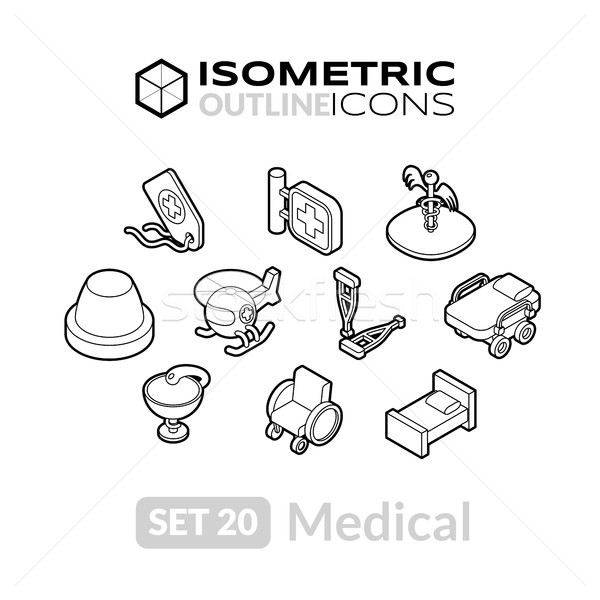 Isometric outline icons set 20 Stock photo © sidmay