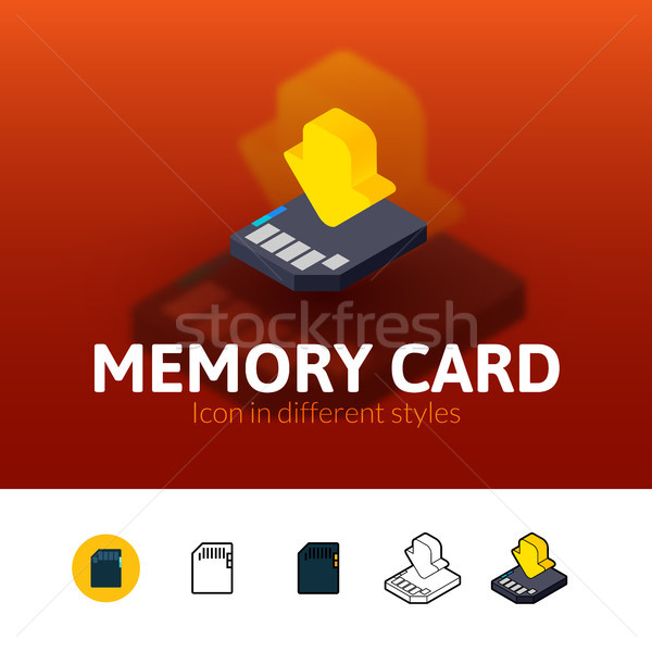 Memory card icon in different style Stock photo © sidmay