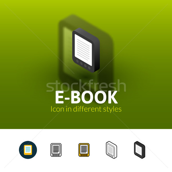 Foto stock: Ebook · icono · diferente · estilo · color · vector