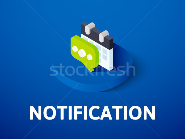 Notification isometric icon, isolated on color background Stock photo © sidmay