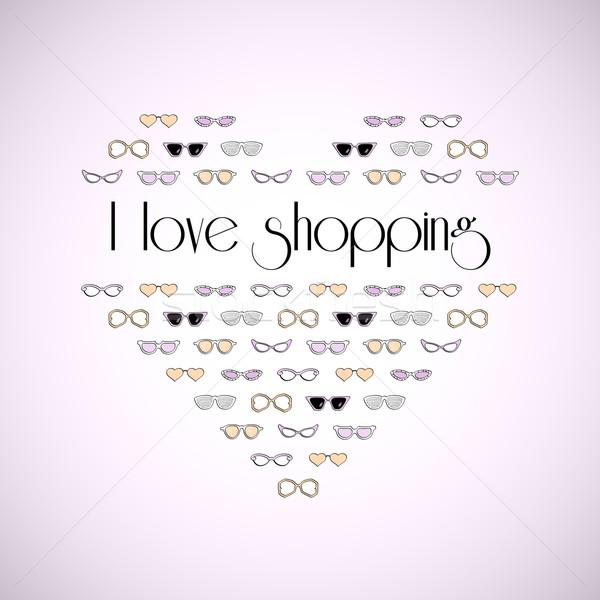 Hart stijlvol mode zonnebril liefde winkelen Stockfoto © sidmay