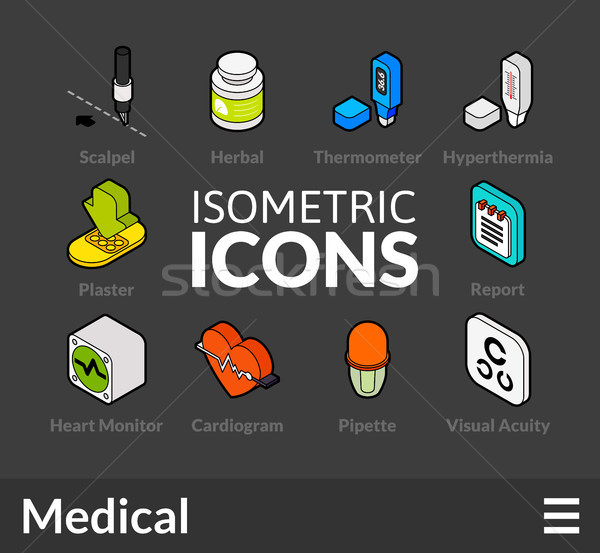 Isometric outline icons set 18 Stock photo © sidmay