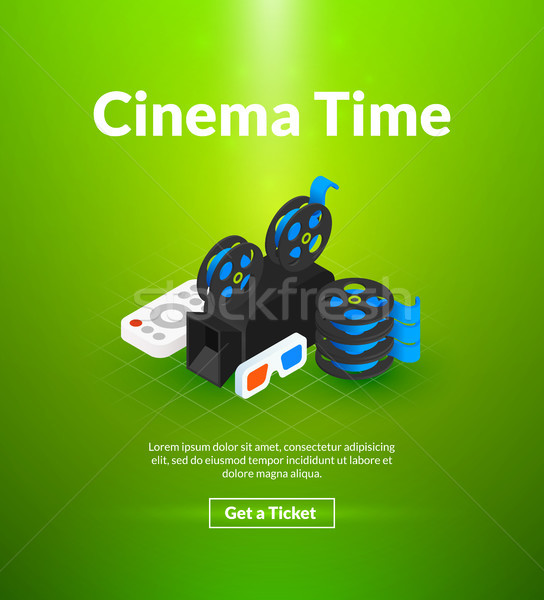 Cinema time poster of isometric color design Stock photo © sidmay