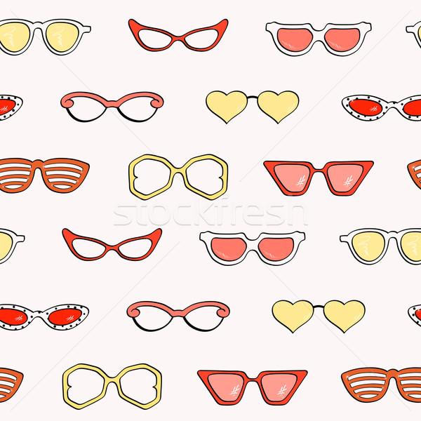 Stockfoto: Mode · geïsoleerd · zonnebril · ingesteld · vrouwen