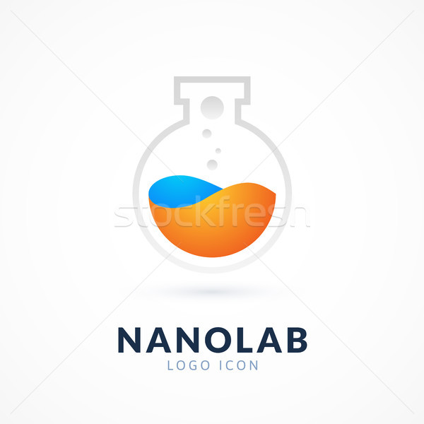 Nano lab logotipo modelo vetor ciência Foto stock © sidmay