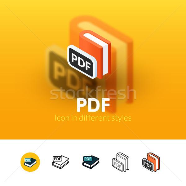 Pdf икона различный стиль цвета вектора Сток-фото © sidmay