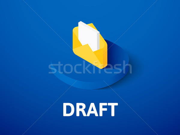 Draft isometric icon, isolated on color background Stock photo © sidmay