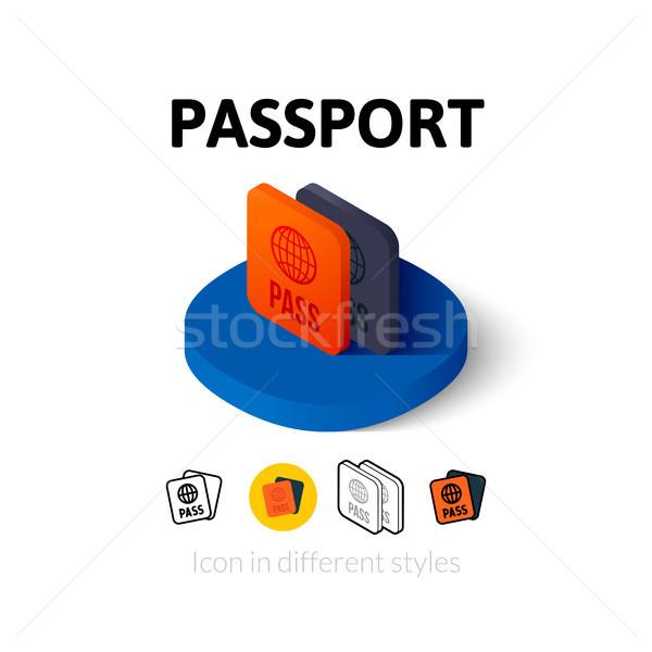 Pasaporte icono diferente estilo vector símbolo Foto stock © sidmay