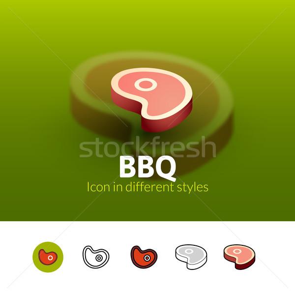 барбекю икона различный стиль цвета вектора Сток-фото © sidmay