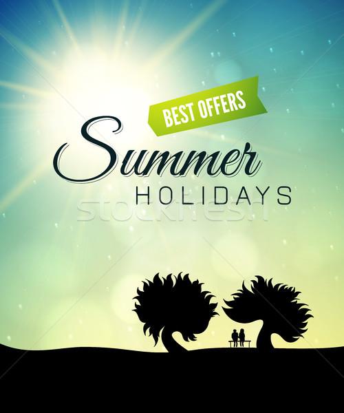 Poszter nyár egészséges élet stílus absztrakt gyerekek Stock fotó © sidmay