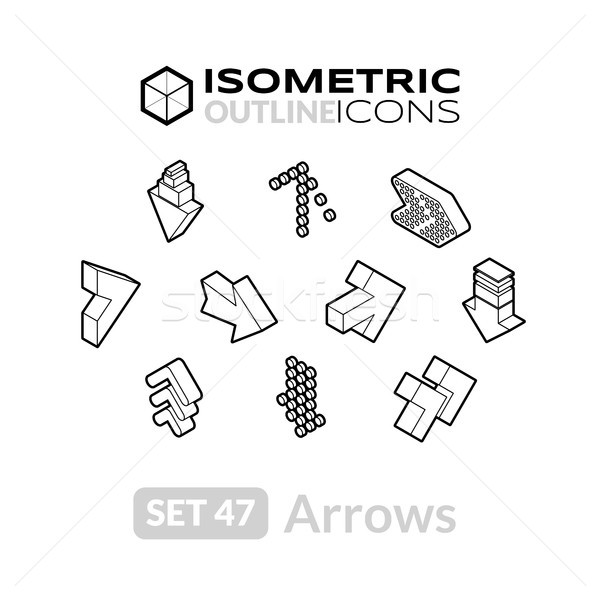 Isometrische schets iconen 3D pictogrammen Stockfoto © sidmay