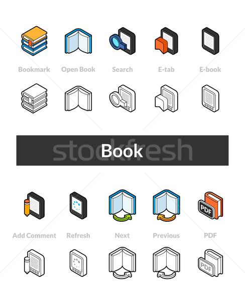 Сток-фото: набор · изометрический · иконки · стиль · черный