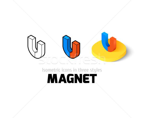 Mágnes ikon különböző stílus vektor szimbólum Stock fotó © sidmay