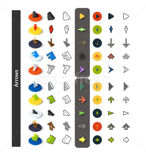Stok fotoğraf: Ayarlamak · simgeler · farklı · stil · izometrik · renkli