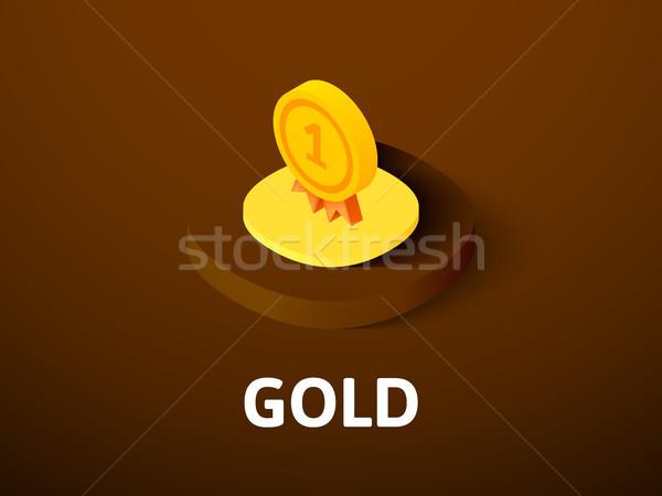 золото изометрический икона изолированный цвета вектора Сток-фото © sidmay