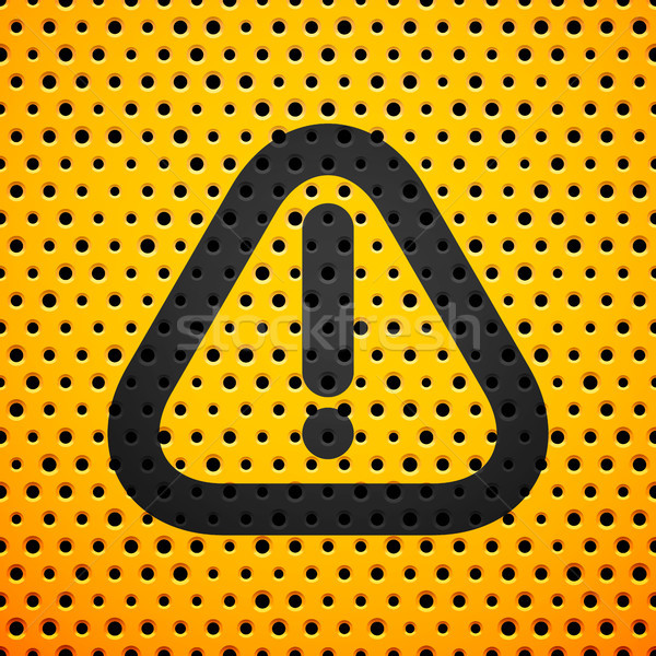 Attention black sign on yellow metal texture with holes Stock photo © sidmay