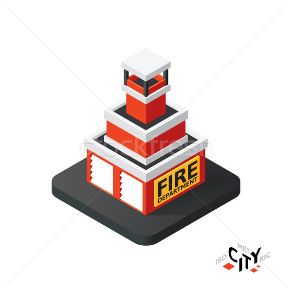 Isometric fire department icon, building city infographic element, vector illustration Stock photo © sidmay