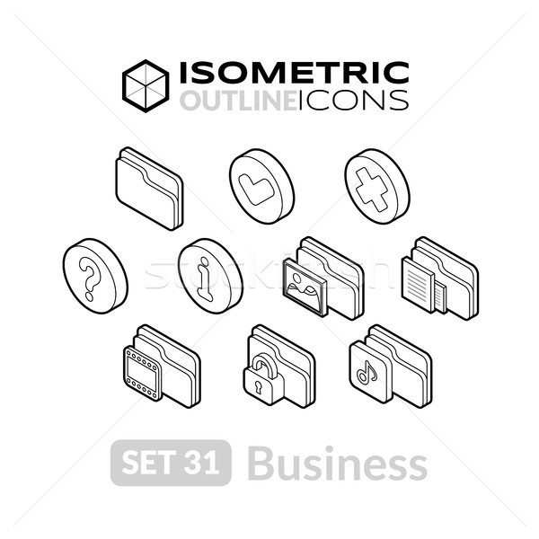 Isometric outline icons set 31 Stock photo © sidmay