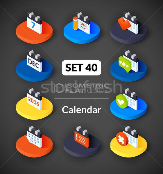 Isometric flat icons set 40 Stock photo © sidmay