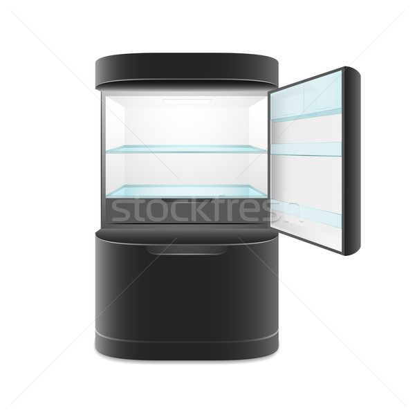Modern two door black refrigerator Stock photo © sidmay