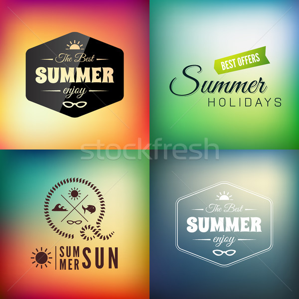 Retro styled summer calligraphic design card set Stock photo © sidmay