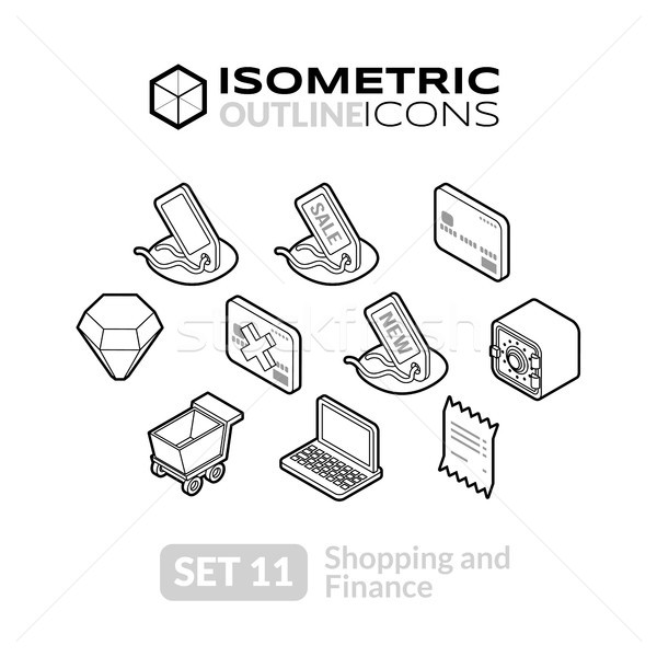 Isometric outline icons set 11 Stock photo © sidmay