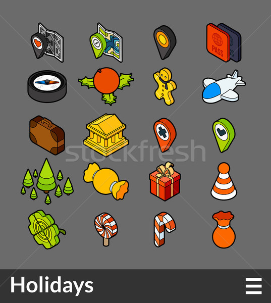 Stock photo: Isometric outline color icons set