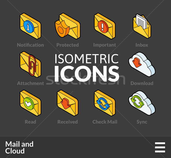 Isometric outline icons set 30 Stock photo © sidmay