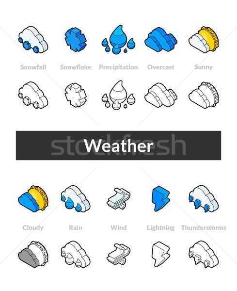 Conjunto isométrica ícones estilo preto Foto stock © sidmay