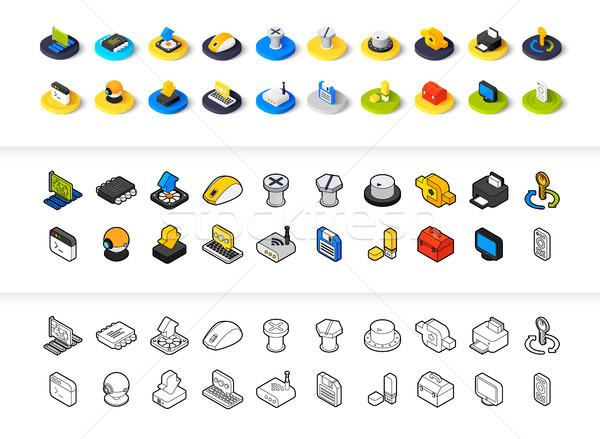 Stock fotó: Szett · ikonok · különböző · stílus · izometrikus · színes