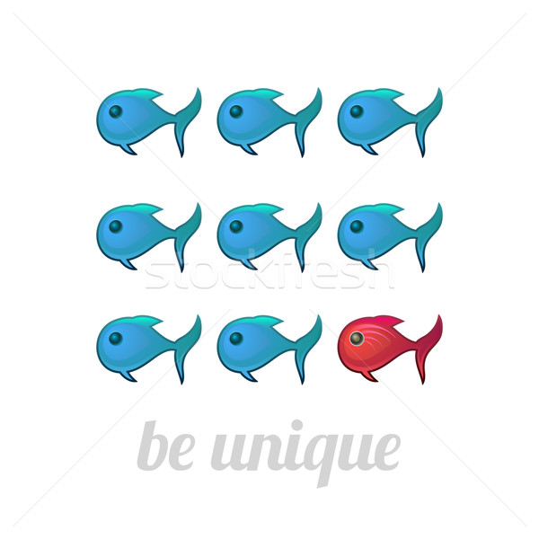 Be unique concept, blue and red fish Stock photo © sidmay