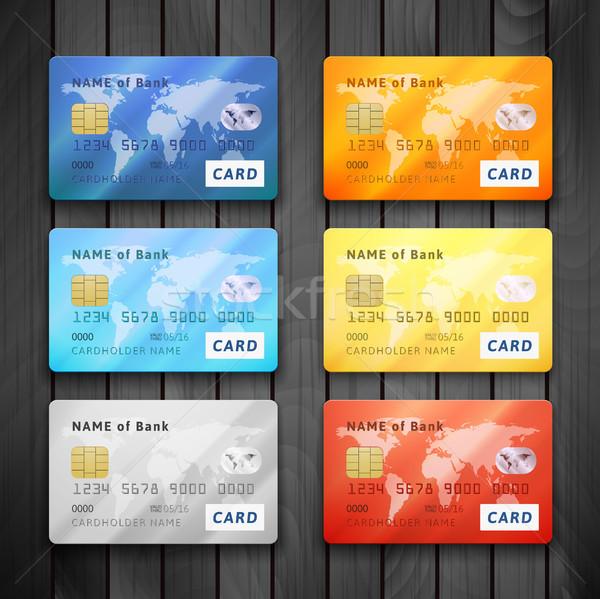 Stock fotó: Szett · részletes · fényes · hitelkártyák · kék · narancs