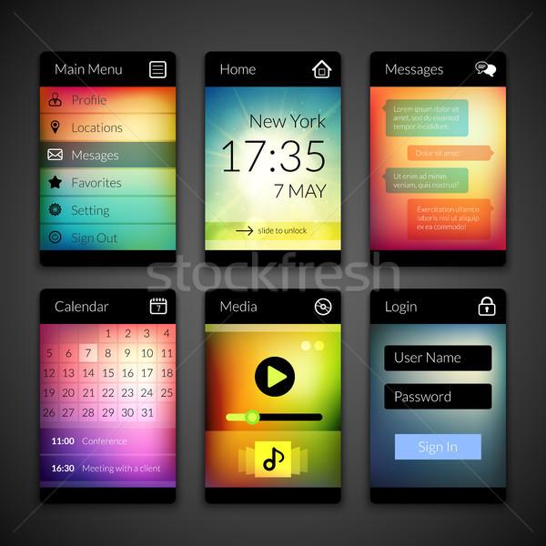 Mobile interfaccia elementi colorato wallpaper design Foto d'archivio © sidmay